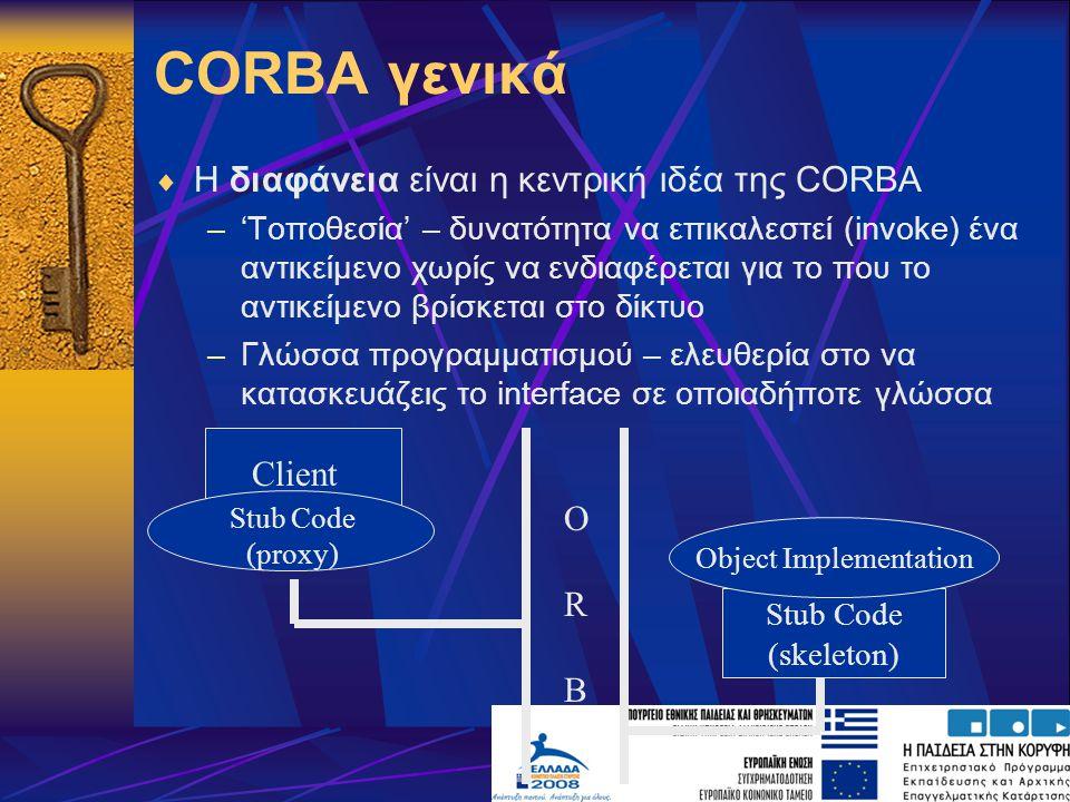 GIOP  Πρόβλημα πολλά διαφορετικά ORBs  Λύση: καθορισμός ενός standard Inter-ORB Protocol και ενός ομοιόμορφου τρόπου αναπαράστασης αντικειμένων  Αρχικά ορίστηκε το GIOP, ένα framework που όριζε ότι το πρωτόκολλα πρέπει να εκτελείται πάνω από ένα αξιόπιστο πρωτόκολλα μεταφοράς  Έτσι ορίστηκε το IIOP πάνω από το TCP