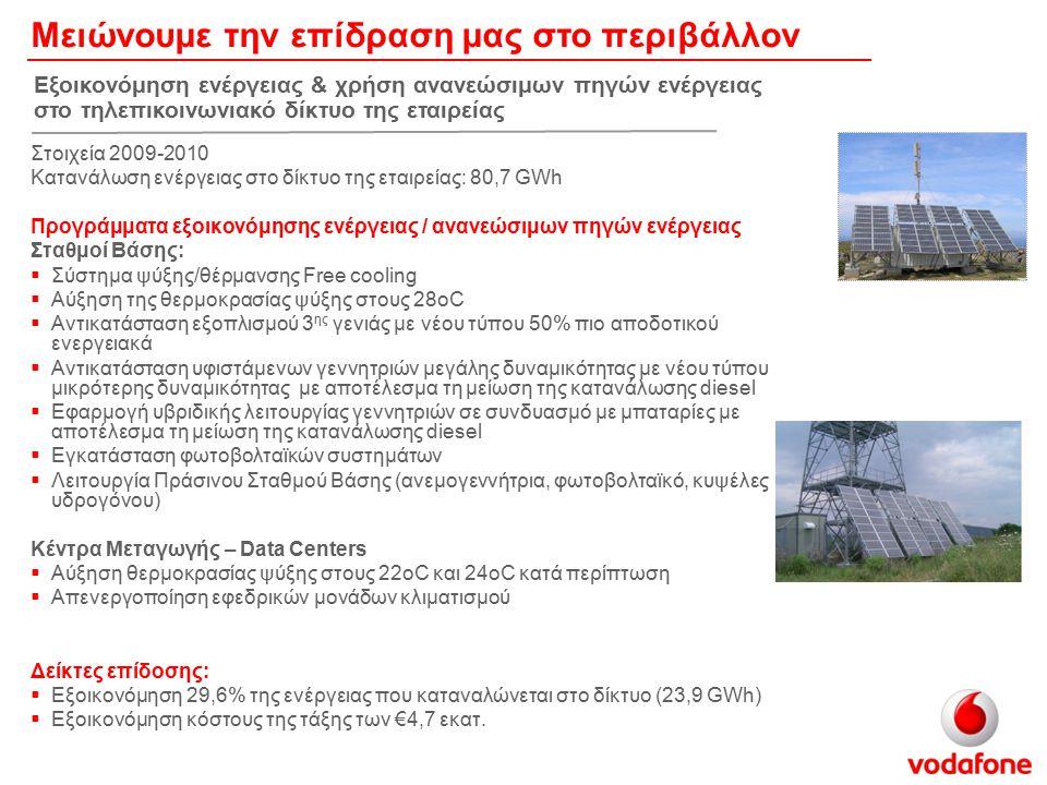 Ενισχύουμε τη θετική μας επίδραση στο περιβάλλον             Έξυπνες Μεταφορές: Vodafone-ZeliTrack Fleet υπηρεσία διαχείρισης στόλου (2.000 οχήματα) Έξυπνο Δίκτυο: Παρακολούθηση κατανάλωσης φυσικού αερίου – πιλοτικό έργο σε συνεργασία με την ΕΠΑ Αττικής (500 έξυπνοι μετρητές) Η Vodafone Αγγλίας τοποθέτησε έξυπνους μετρητές κατανάλωσης ηλεκτρικής ενέργειας σε 12.000 σταθμούς βάσης.