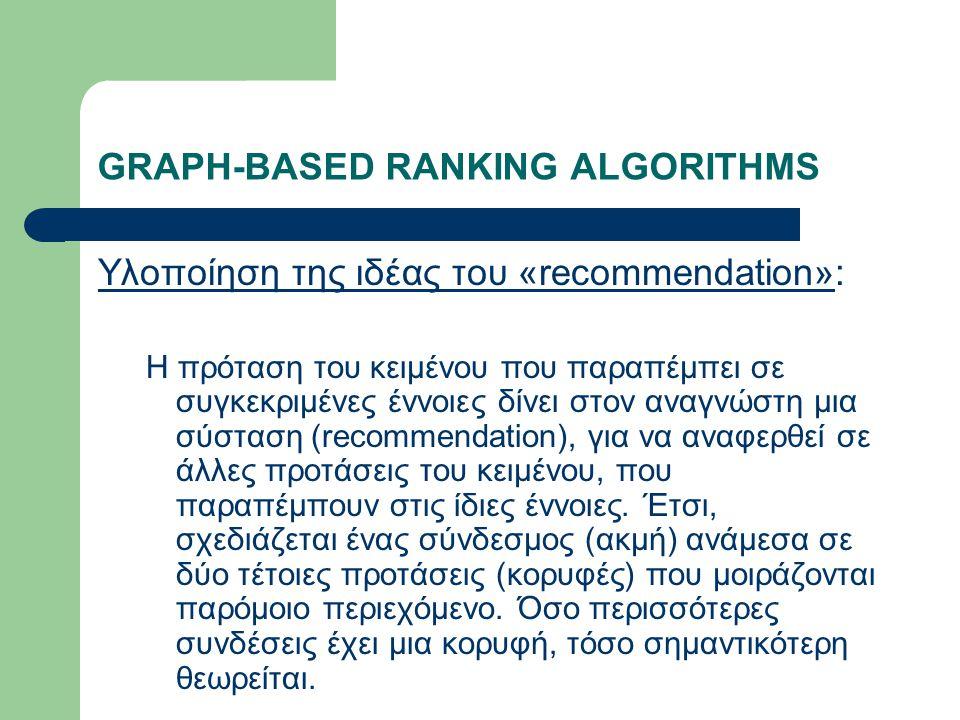 GRAPH-BASED RANKING ALGORITHMS Υλοποίηση της ιδέας του «recommendation»: Η πρόταση του κειμένου που παραπέμπει σε συγκεκριμένες έννοιες δίνει στον αναγνώστη μια σύσταση (recommendation), για να αναφερθεί σε άλλες προτάσεις του κειμένου, που παραπέμπουν στις ίδιες έννοιες.