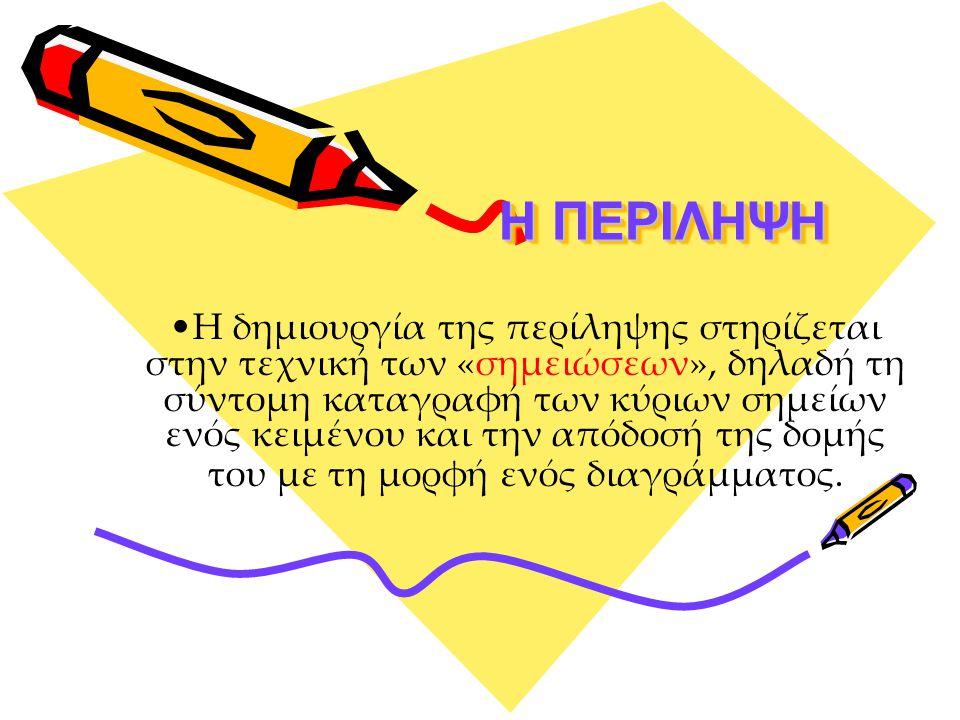 Η ΠΕΡΙΛΗΨΗ Η ΠΕΡΙΛΗΨΗ Η δημιουργία της περίληψης στηρίζεται στην τεχνική των «σημειώσεων», δηλαδή τη σύντομη καταγραφή των κύριων σημείων ενός κειμένου και την απόδοσή της δομής του με τη μορφή ενός διαγράμματος.