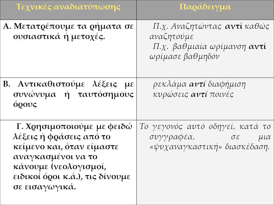 Τεχνικές αναδιατύπωσηςΠαράδειγμα Α.Μετατρέπουμε τα ρήματα σε ουσιαστικά ή μετοχές.