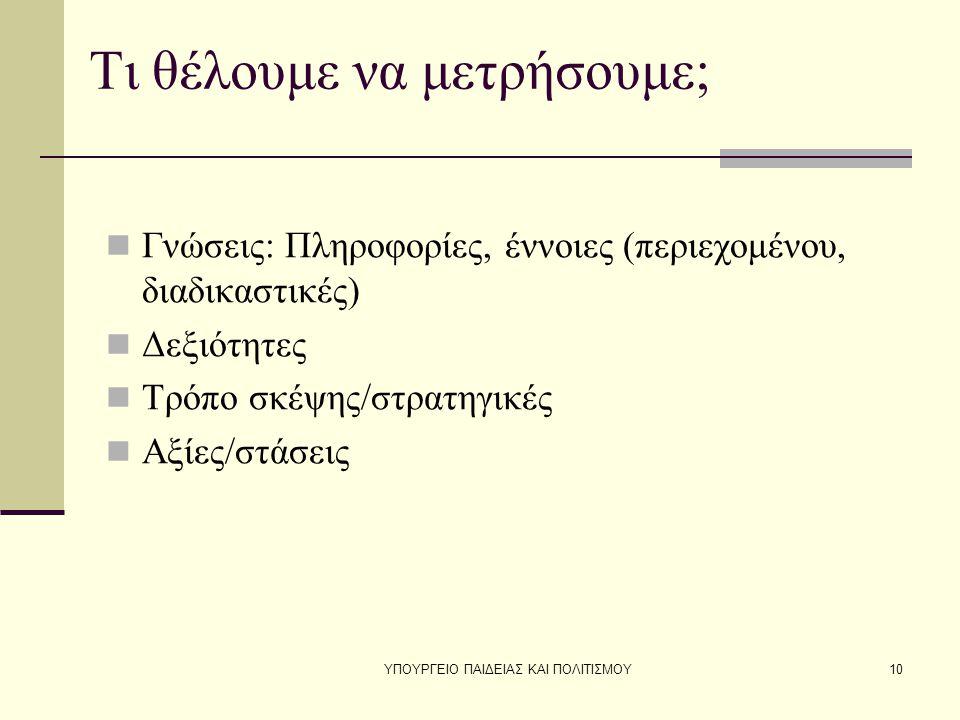 ΥΠΟΥΡΓΕΙΟ ΠΑΙΔΕΙΑΣ ΚΑΙ ΠΟΛΙΤΙΣΜΟΥ10 Τι θέλουμε να μετρήσουμε; Γνώσεις: Πληροφορίες, έννοιες (περιεχομένου, διαδικαστικές) Δεξιότητες Τρόπο σκέψης/στρατηγικές Αξίες/στάσεις