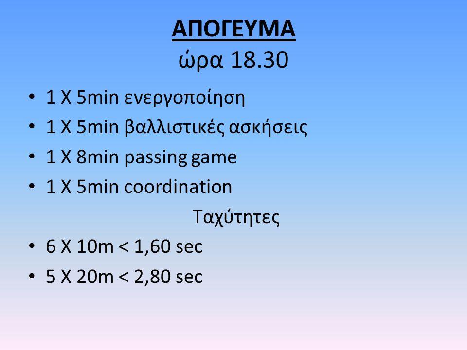 ΑΠΟΓΕΥΜΑ ώρα 18.30 1 Χ 5min ενεργοποίηση 1 Χ 5min βαλλιστικές ασκήσεις 1 Χ 8min passing game 1 X 5min coordination Ταχύτητες 6 Χ 10m < 1,60 sec 5 Χ 20m < 2,80 sec