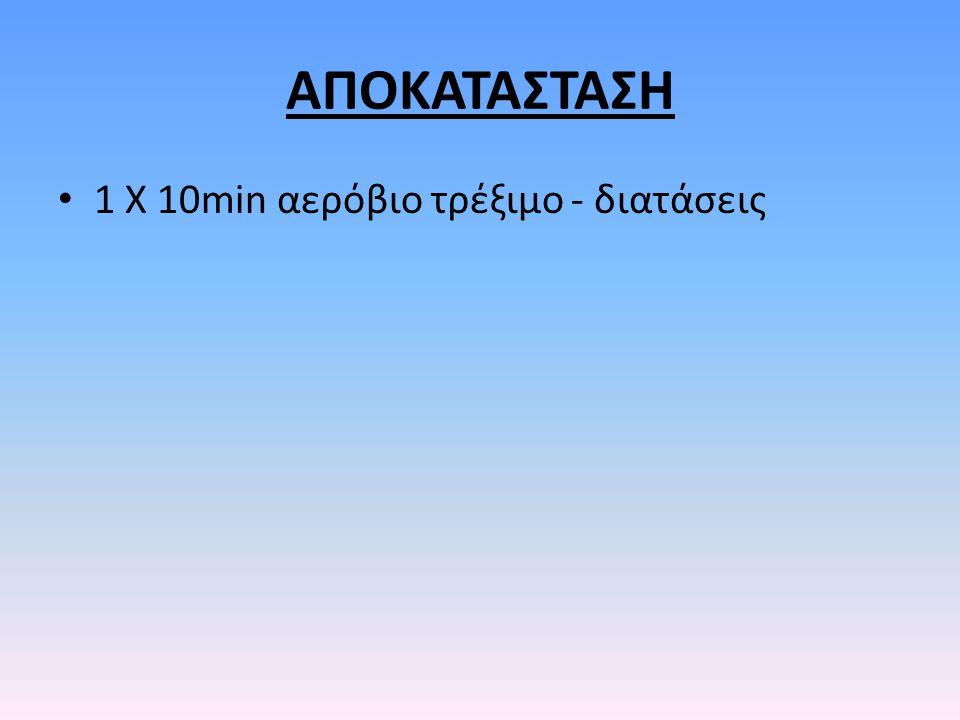 ΑΠΟΚΑΤΑΣΤΑΣΗ 1 Χ 10min αερόβιο τρέξιμο - διατάσεις