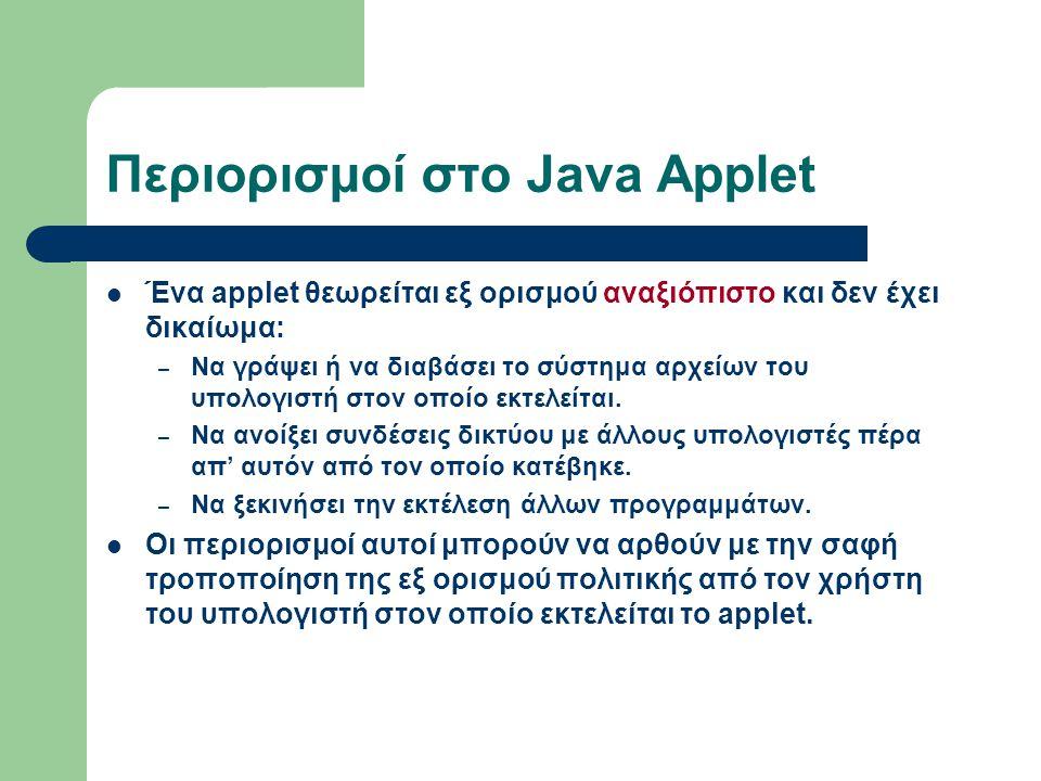 Περιορισμοί στο Java Applet Ένα applet θεωρείται εξ ορισμού αναξιόπιστο και δεν έχει δικαίωμα: – Να γράψει ή να διαβάσει το σύστημα αρχείων του υπολογ