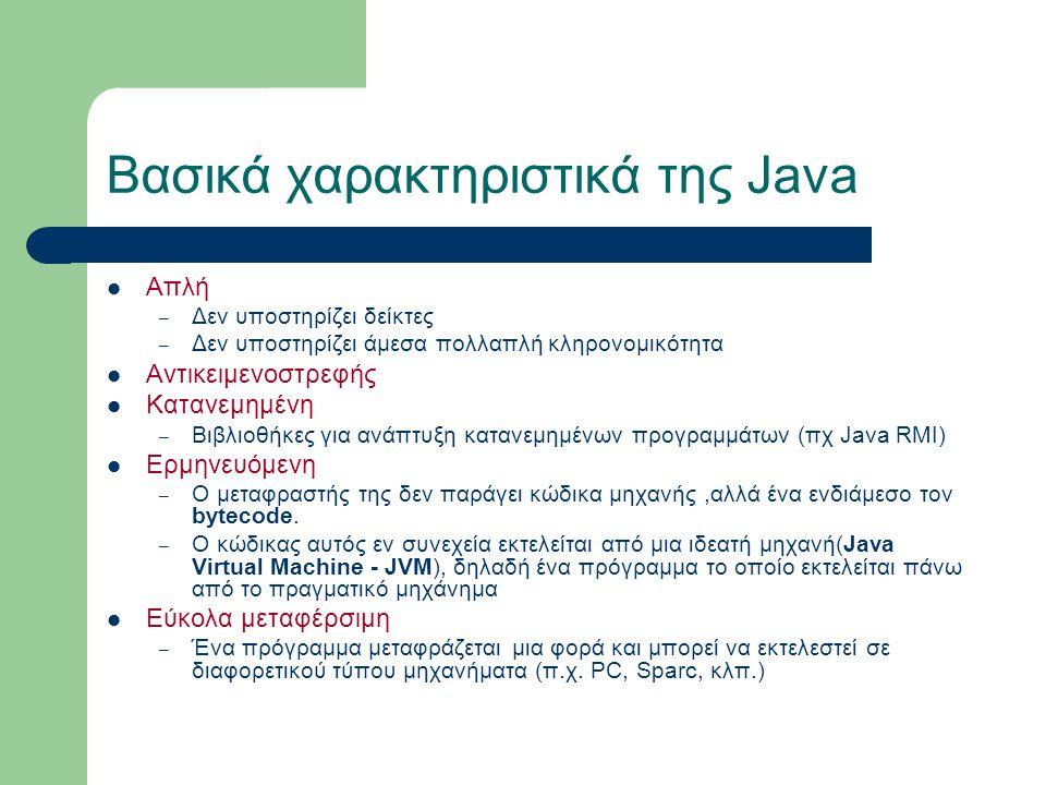 Βασικά χαρακτηριστικά της Java Απλή – Δεν υποστηρίζει δείκτες – Δεν υποστηρίζει άμεσα πολλαπλή κληρονομικότητα Αντικειμενοστρεφής Κατανεμημένη – Βιβλι