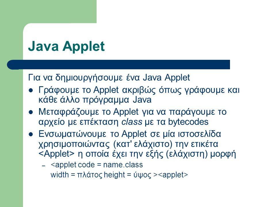 Java Applet Για να δημιουργήσουμε ένα Java Applet Γράφουμε το Applet ακριβώς όπως γράφουμε και κάθε άλλο πρόγραμμα Java Μεταφράζουμε το Applet για να