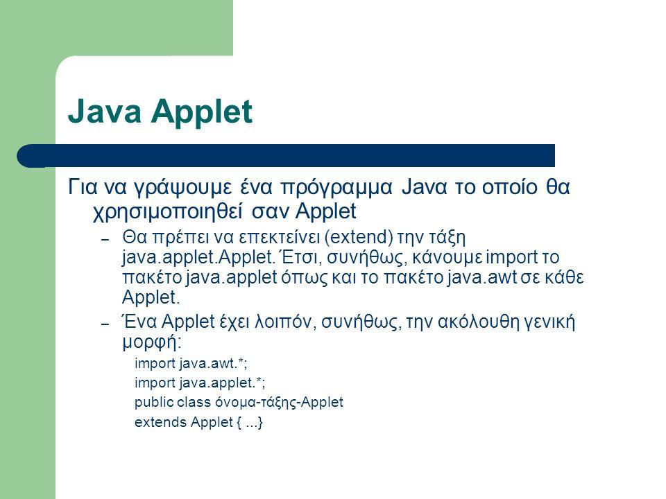 Java Applet Για να γράψουμε ένα πρόγραμμα Javα το οποίο θα χρησιμοποιηθεί σαν Applet – Θα πρέπει να επεκτείνει (extend) την τάξη java.applet.Applet. Έ