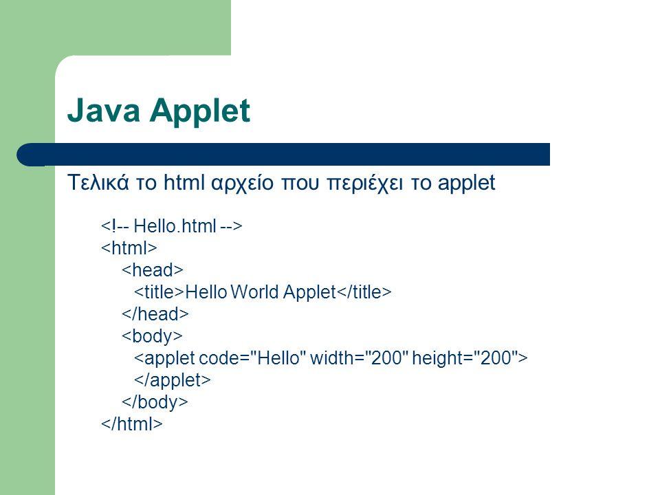 Περιορισμοί στο Java Applet Ένα applet θεωρείται εξ ορισμού αναξιόπιστο και δεν έχει δικαίωμα: – Να γράψει ή να διαβάσει το σύστημα αρχείων του υπολογιστή στον οποίο εκτελείται.