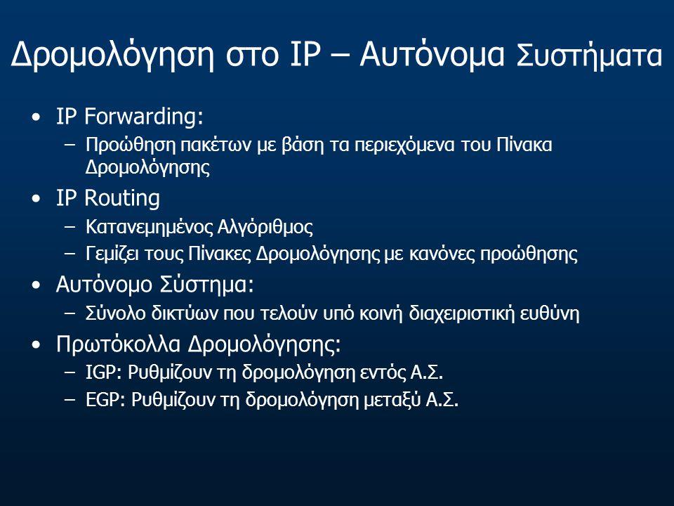 Δρομολόγηση στο IP – Αυτόνομα Συστήματα IP Forwarding: –Προώθηση πακέτων με βάση τα περιεχόμενα του Πίνακα Δρομολόγησης IP Routing –Κατανεμημένος Αλγόριθμος –Γεμίζει τους Πίνακες Δρομολόγησης με κανόνες προώθησης Αυτόνομο Σύστημα: –Σύνολο δικτύων που τελούν υπό κοινή διαχειριστική ευθύνη Πρωτόκολλα Δρομολόγησης: –IGP: Ρυθμίζουν τη δρομολόγηση εντός Α.Σ.