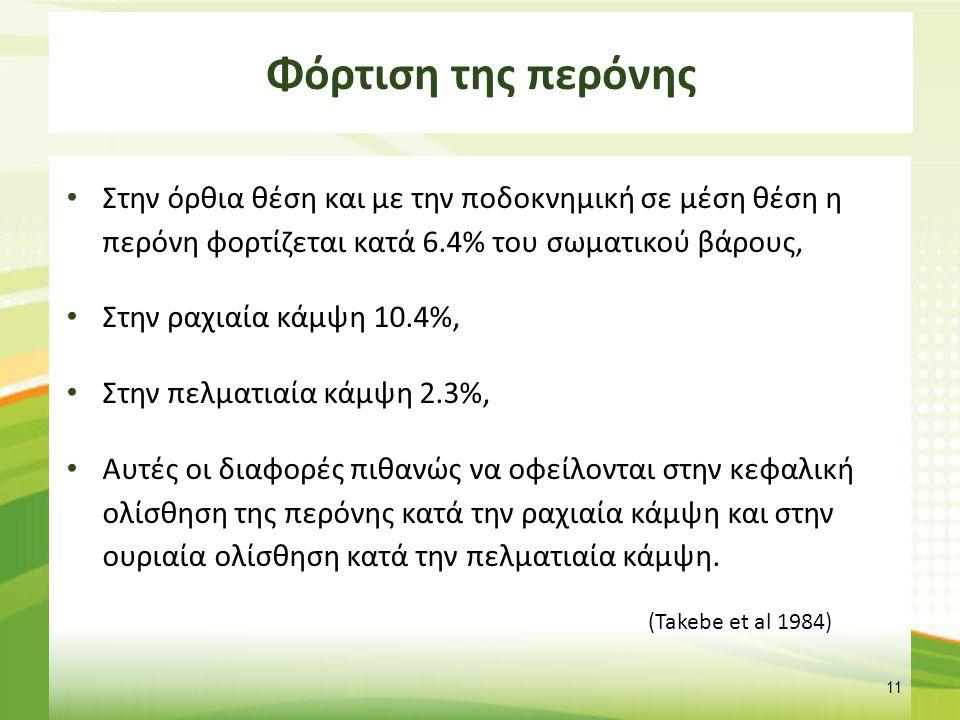 Φόρτιση της περόνης Στην όρθια θέση και με την ποδοκνημική σε μέση θέση η περόνη φορτίζεται κατά 6.4% του σωματικού βάρους, Στην ραχιαία κάμψη 10.4%,