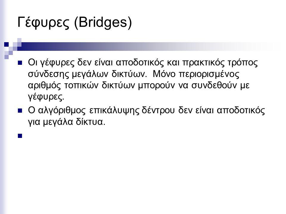 Γέφυρες (Bridges) Οι γέφυρες δεν είναι αποδοτικός και πρακτικός τρόπος σύνδεσης μεγάλων δικτύων.