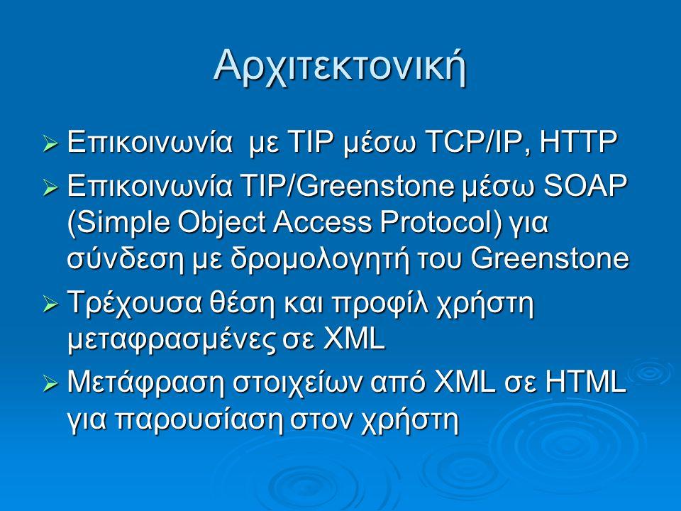 Αρχιτεκτονική  Επικοινωνία με TIP μέσω TCP/IP, HTTP  Επικοινωνία TIP/Greenstone μέσω SOAP (Simple Object Access Protocol) για σύνδεση με δρομολογητή του Greenstone  Τρέχουσα θέση και προφίλ χρήστη μεταφρασμένες σε XML  Μετάφραση στοιχείων από XML σε HTML για παρουσίαση στον χρήστη