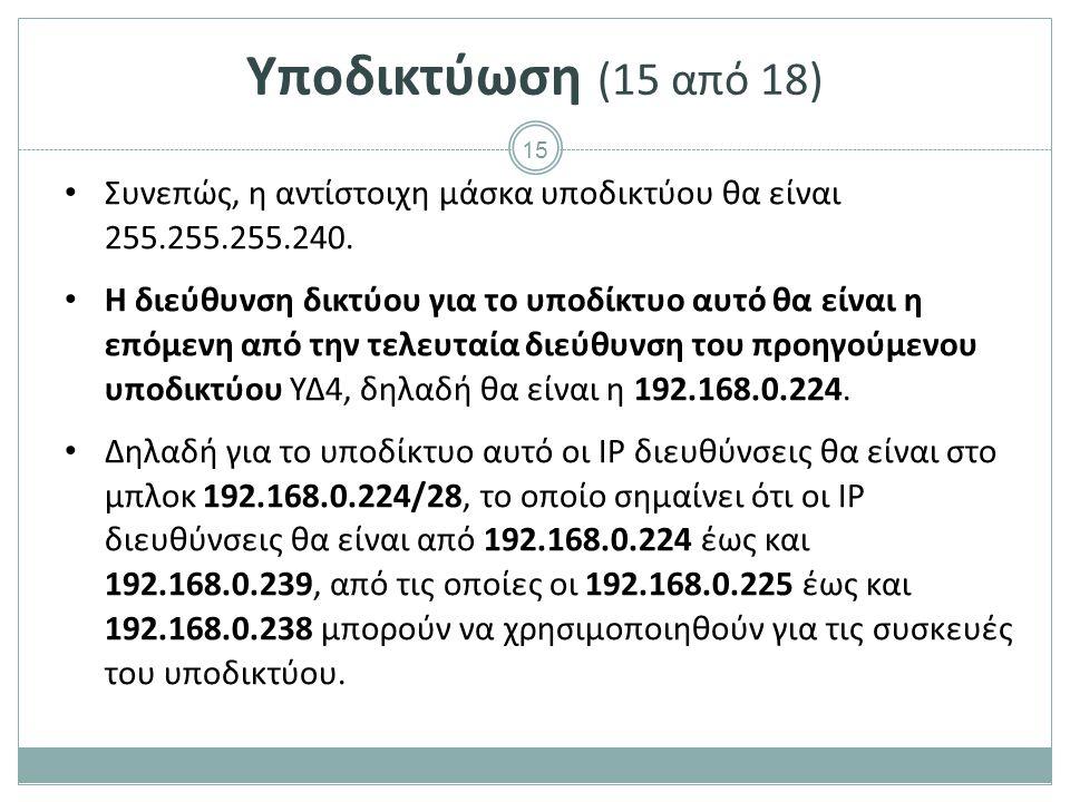 15 Υποδικτύωση (15 από 18) Συνεπώς, η αντίστοιχη μάσκα υποδικτύου θα είναι 255.255.255.240.
