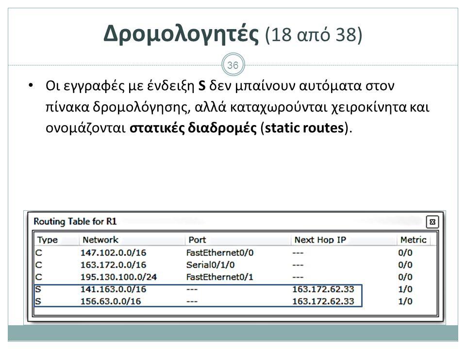 36 Δρομολογητές (18 από 38) Οι εγγραφές με ένδειξη S δεν μπαίνουν αυτόματα στον πίνακα δρομολόγησης, αλλά καταχωρούνται χειροκίνητα και ονομάζονται στατικές διαδρομές (static routes).