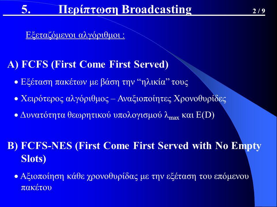 Εξεταζόμενοι αλγόριθμοι : Α) FCFS (First Come First Served)  Εξέταση πακέτων με βάση την ηλικία τους  Χειρότερος αλγόριθμος – Αναξιοποίητες Χρονοθυρίδες  Δυνατότητα θεωρητικού υπολογισμού λ max και E(D) Β) FCFS-NES (First Come First Served with No Empty Slots)  Αξιοποίηση κάθε χρονοθυρίδας με την εξέταση του επόμενου πακέτου 5.