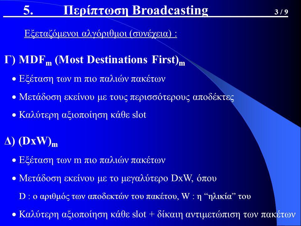 Εξεταζόμενοι αλγόριθμοι (συνέχεια) : Γ) MDF m (Most Destinations First) m  Εξέταση των m πιο παλιών πακέτων  Μετάδοση εκείνου με τους περισσότερους αποδέκτες  Καλύτερη αξιοποίηση κάθε slot Δ) (DxW) m  Εξέταση των m πιο παλιών πακέτων  Μετάδοση εκείνου με το μεγαλύτερο DxW, όπου D : ο αριθμός των αποδεκτών του πακέτου, W : η ηλικία του  Καλύτερη αξιοποίηση κάθε slot + δίκαιη αντιμετώπιση των πακέτων 5.