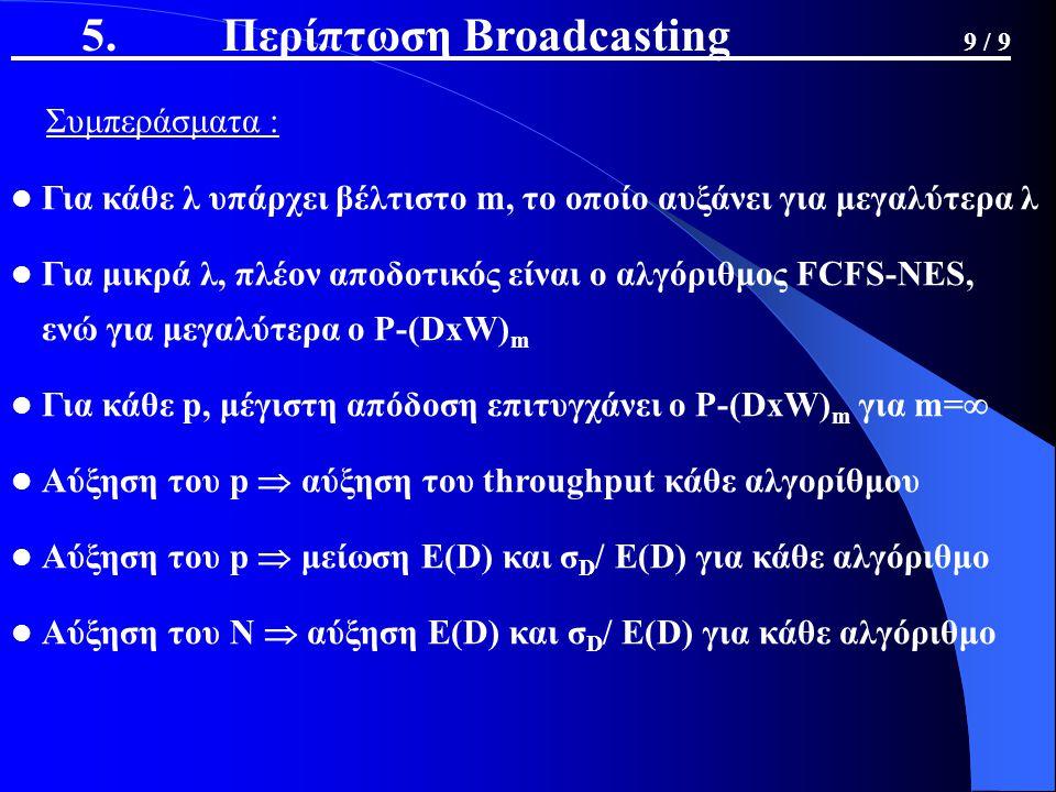 5. Περίπτωση Broadcasting 9 / 9 Συμπεράσματα : Για κάθε λ υπάρχει βέλτιστο m, το οποίο αυξάνει για μεγαλύτερα λ Για μικρά λ, πλέον αποδοτικός είναι ο
