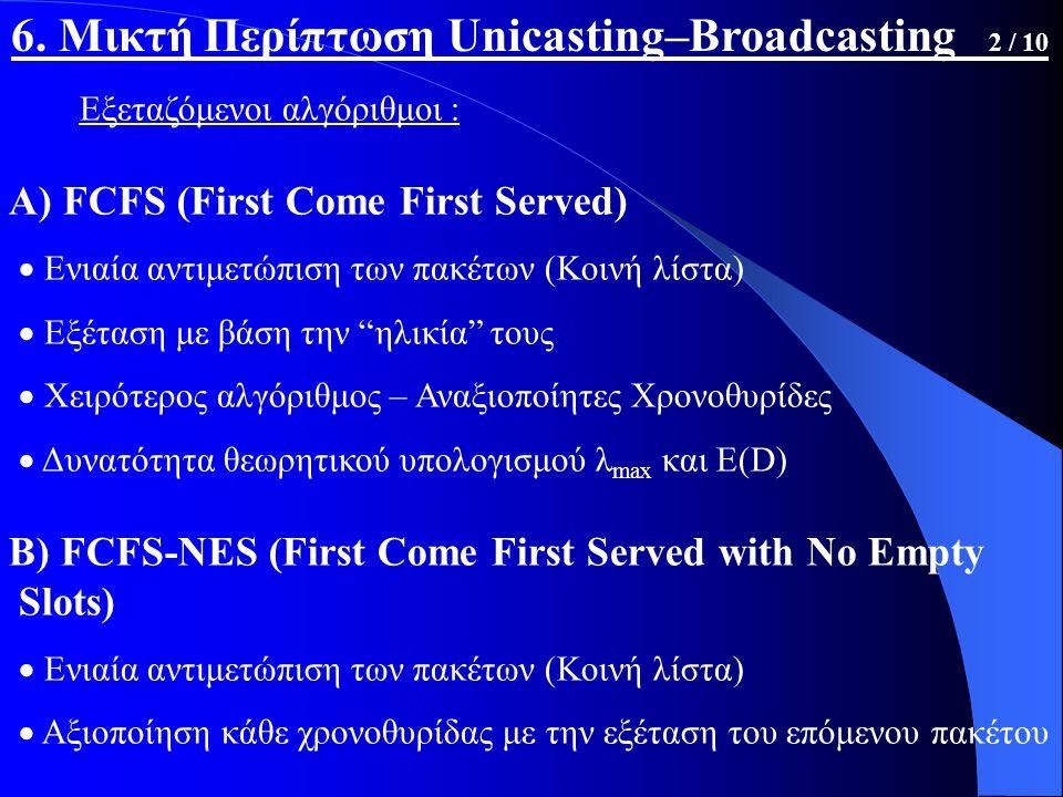 Εξεταζόμενοι αλγόριθμοι : Α) FCFS (First Come First Served)  Ενιαία αντιμετώπιση των πακέτων (Κοινή λίστα)  Εξέταση με βάση την ηλικία τους  Χειρότερος αλγόριθμος – Αναξιοποίητες Χρονοθυρίδες  Δυνατότητα θεωρητικού υπολογισμού λ max και E(D) Β) FCFS-NES (First Come First Served with No Empty Slots)  Ενιαία αντιμετώπιση των πακέτων (Κοινή λίστα)  Αξιοποίηση κάθε χρονοθυρίδας με την εξέταση του επόμενου πακέτου 6.