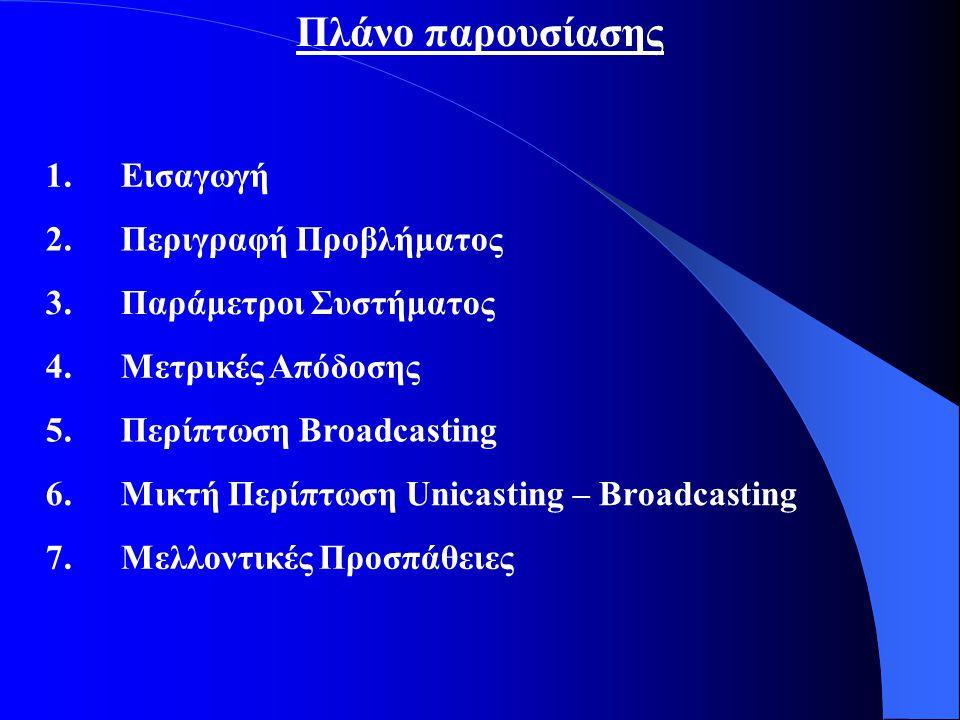 Πλάνο παρουσίασης 1.Εισαγωγή 2.Περιγραφή Προβλήματος 3.Παράμετροι Συστήματος 4.Μετρικές Απόδοσης 5.Περίπτωση Broadcasting 6.Μικτή Περίπτωση Unicasting – Broadcasting 7.Μελλοντικές Προσπάθειες