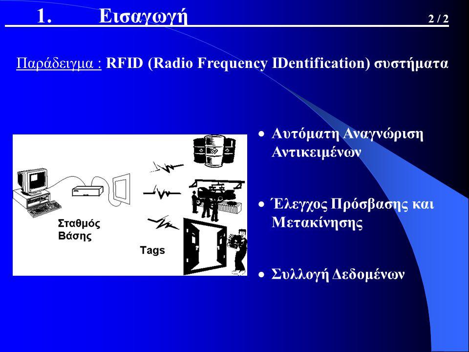 1. Εισαγωγή 2 / 2 Παράδειγμα : RFID (Radio Frequency IDentification) συστήματα  Αυτόματη Αναγνώριση Αντικειμένων  Έλεγχος Πρόσβασης και Μετακίνησης