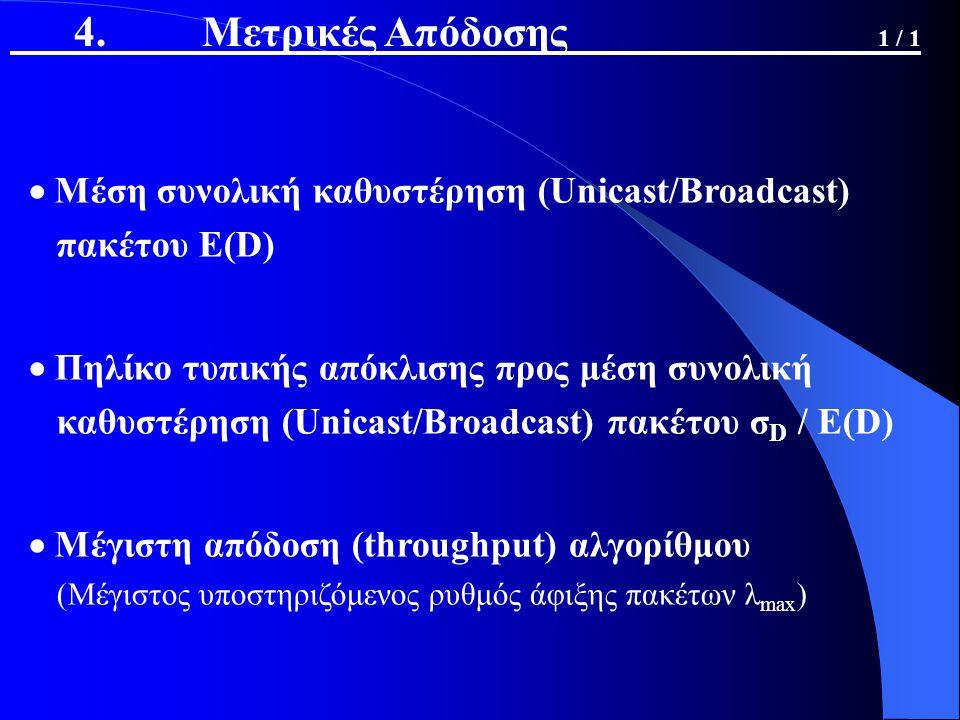  Μέση συνολική καθυστέρηση (Unicast/Broadcast) πακέτου E(D)  Πηλίκο τυπικής απόκλισης προς μέση συνολική καθυστέρηση (Unicast/Broadcast) πακέτου σ D / E(D)  Μέγιστη απόδοση (throughput) αλγορίθμου (Μέγιστος υποστηριζόμενος ρυθμός άφιξης πακέτων λ max ) 4.