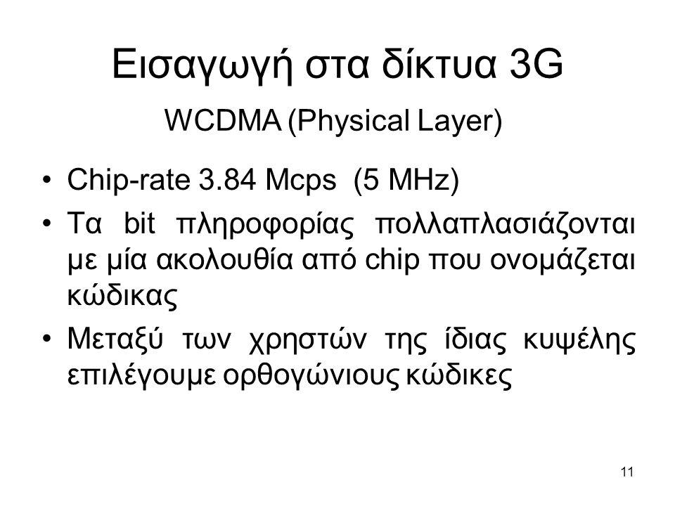 11 Εισαγωγή στα δίκτυα 3G Chip-rate 3.84 Mcps (5 MHz) Τα bit πληροφορίας πολλαπλασιάζονται με μία ακολουθία από chip που ονομάζεται κώδικας Μεταξύ των χρηστών της ίδιας κυψέλης επιλέγουμε ορθογώνιους κώδικες WCDMA (Physical Layer)