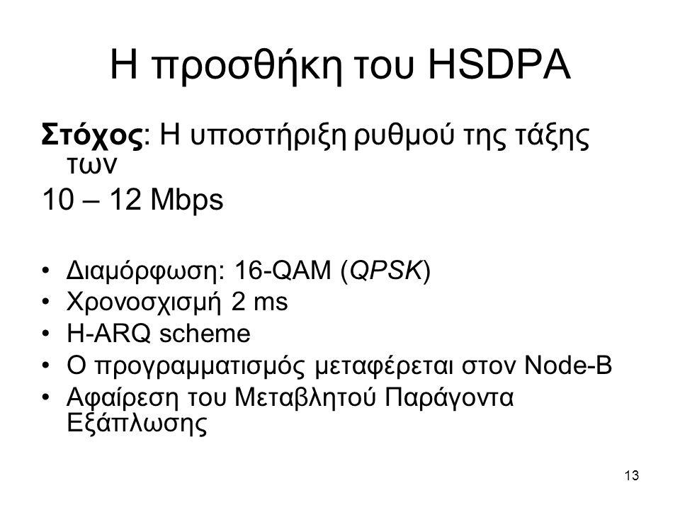 13 Η προσθήκη του HSDPA Στόχος: Η υποστήριξη ρυθμού της τάξης των 10 – 12 Mbps Διαμόρφωση: 16-QAM (QPSK) Χρονοσχισμή 2 ms H-ARQ scheme Ο προγραμματισμός μεταφέρεται στον Node-B Αφαίρεση του Μεταβλητού Παράγοντα Εξάπλωσης