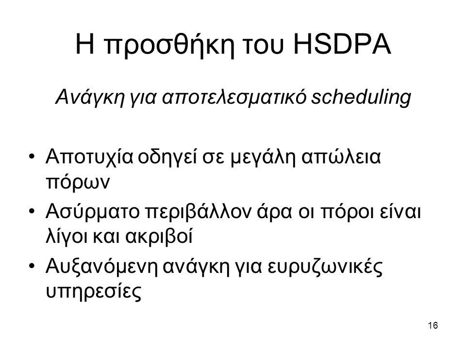 16 Η προσθήκη του HSDPA Ανάγκη για αποτελεσματικό scheduling Αποτυχία οδηγεί σε μεγάλη απώλεια πόρων Ασύρματο περιβάλλον άρα οι πόροι είναι λίγοι και ακριβοί Αυξανόμενη ανάγκη για ευρυζωνικές υπηρεσίες