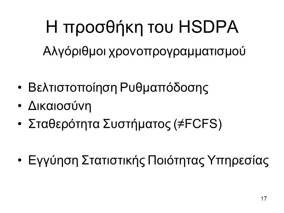 17 Η προσθήκη του HSDPA Αλγόριθμοι χρονοπρογραμματισμού Βελτιστοποίηση Ρυθμαπόδοσης Δικαιοσύνη Σταθερότητα Συστήματος (≠FCFS) Εγγύηση Στατιστικής Ποιότητας Υπηρεσίας
