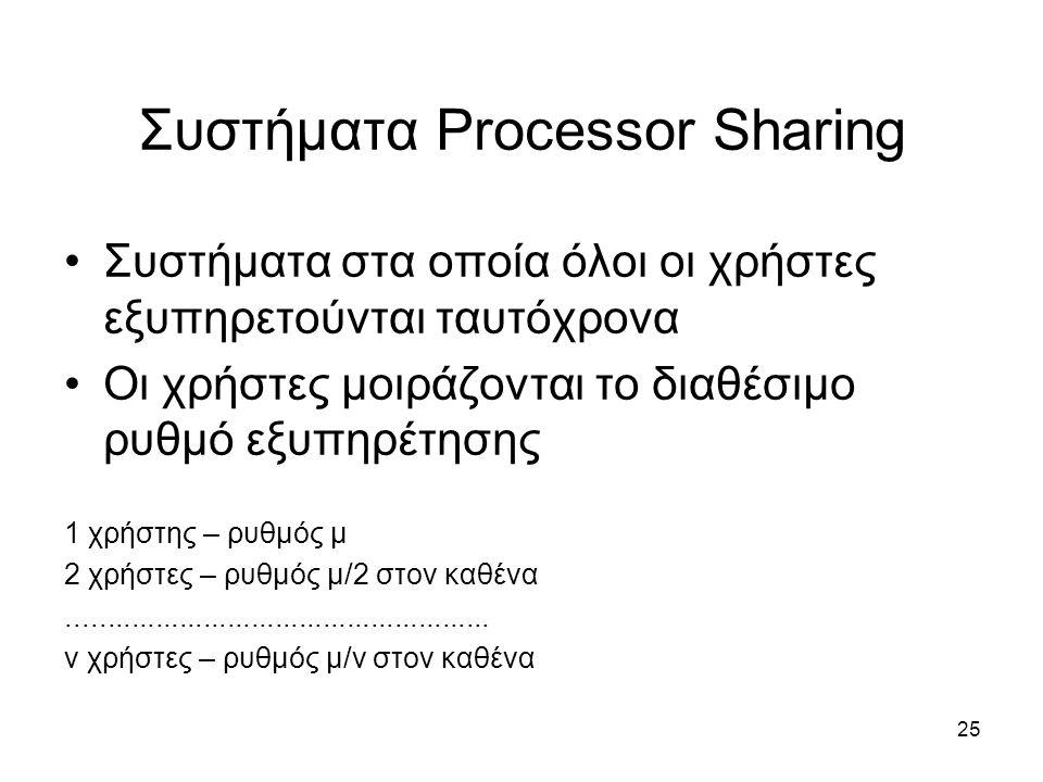 25 Συστήματα Processor Sharing Συστήματα στα οποία όλοι οι χρήστες εξυπηρετούνται ταυτόχρονα Οι χρήστες μοιράζονται το διαθέσιμο ρυθμό εξυπηρέτησης 1 χρήστης – ρυθμός μ 2 χρήστες – ρυθμός μ/2 στον καθένα.....................................................
