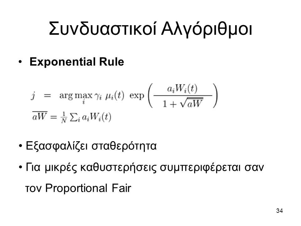 34 Συνδυαστικοί Αλγόριθμοι Exponential Rule Εξασφαλίζει σταθερότητα Για μικρές καθυστερήσεις συμπεριφέρεται σαν τον Proportional Fair