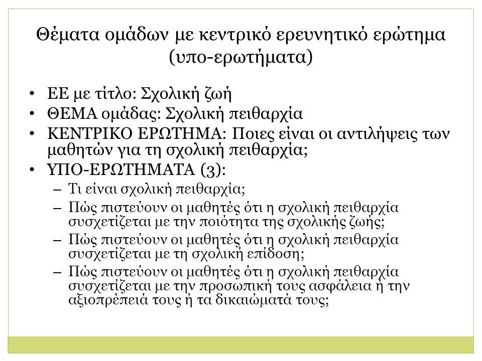 Θέματα ομάδων με κεντρικό ερευνητικό ερώτημα (υπο-ερωτήματα) ΕΕ με τίτλο: Σχολική ζωή ΘΕΜΑ ομάδας: Σχολική πειθαρχία ΚΕΝΤΡΙΚΟ ΕΡΩΤΗΜΑ: Ποιες είναι οι αντιλήψεις των μαθητών για τη σχολική πειθαρχία; ΥΠΟ-ΕΡΩΤΗΜΑΤΑ (3): – Τι είναι σχολική πειθαρχία; – Πώς πιστεύουν οι μαθητές ότι η σχολική πειθαρχία συσχετίζεται με την ποιότητα της σχολικής ζωής; – Πώς πιστεύουν οι μαθητές ότι η σχολική πειθαρχία συσχετίζεται με τη σχολική επίδοση; – Πώς πιστεύουν οι μαθητές ότι η σχολική πειθαρχία συσχετίζεται με την προσωπική τους ασφάλεια ή την αξιοπρέπειά τους ή τα δικαιώματά τους;