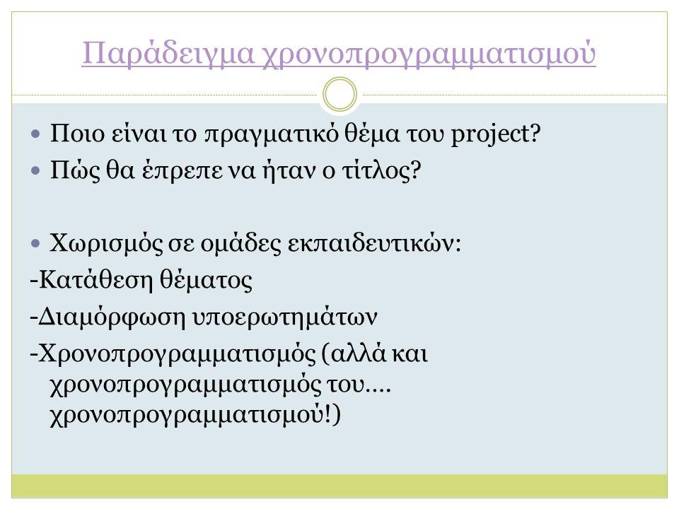 Παράδειγμα χρονοπρογραμματισμού Ποιο είναι το πραγματικό θέμα του project? Πώς θα έπρεπε να ήταν ο τίτλος? Χωρισμός σε ομάδες εκπαιδευτικών: -Κατάθεση