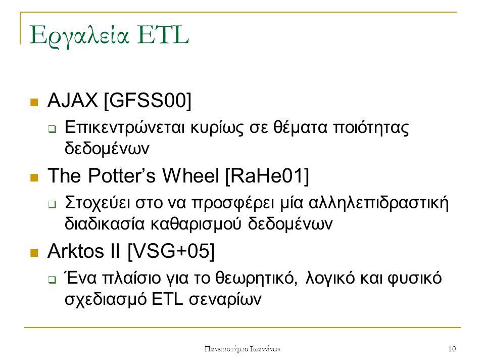 Πανεπιστήμιο Ιωαννίνων 10 Εργαλεία ETL AJAX [GFSS00]  Επικεντρώνεται κυρίως σε θέματα ποιότητας δεδομένων The Potter's Wheel [RaHe01]  Στοχεύει στο να προσφέρει μία αλληλεπιδραστική διαδικασία καθαρισμού δεδομένων Arktos II [VSG+05]  Ένα πλαίσιο για το θεωρητικό, λογικό και φυσικό σχεδιασμό ETL σεναρίων