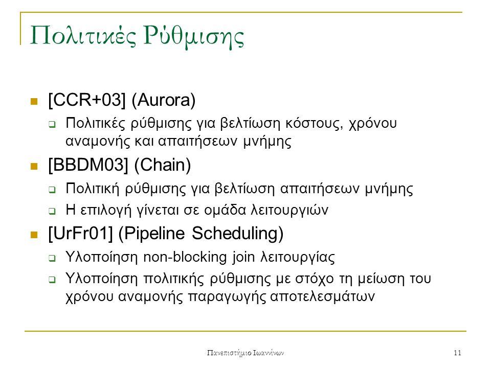 Πανεπιστήμιο Ιωαννίνων 11 Πολιτικές Ρύθμισης [CCR+03] (Aurora)  Πολιτικές ρύθμισης για βελτίωση κόστους, χρόνου αναμονής και απαιτήσεων μνήμης [BBDM03] (Chain)  Πολιτική ρύθμισης για βελτίωση απαιτήσεων μνήμης  Η επιλογή γίνεται σε ομάδα λειτουργιών [UrFr01] (Pipeline Scheduling)  Υλοποίηση non-blocking join λειτουργίας  Υλοποίηση πολιτικής ρύθμισης με στόχο τη μείωση του χρόνου αναμονής παραγωγής αποτελεσμάτων