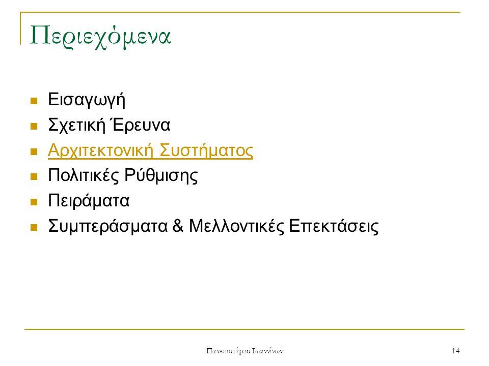 Πανεπιστήμιο Ιωαννίνων 14 Περιεχόμενα Εισαγωγή Σχετική Έρευνα Αρχιτεκτονική Συστήματος Πολιτικές Ρύθμισης Πειράματα Συμπεράσματα & Μελλοντικές Επεκτάσεις
