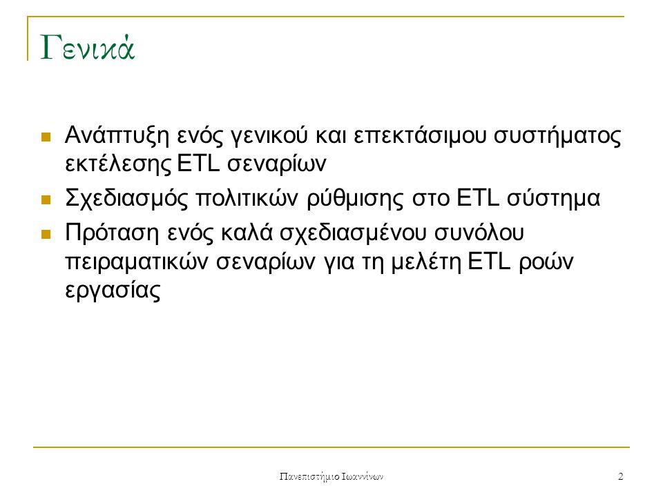 Πανεπιστήμιο Ιωαννίνων 2 Γενικά Ανάπτυξη ενός γενικού και επεκτάσιμου συστήματος εκτέλεσης ETL σεναρίων Σχεδιασμός πολιτικών ρύθμισης στο ETL σύστημα Πρόταση ενός καλά σχεδιασμένου συνόλου πειραματικών σεναρίων για τη μελέτη ETL ροών εργασίας