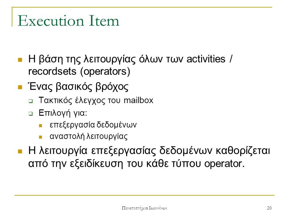 Πανεπιστήμιο Ιωαννίνων 20 Execution Item Η βάση της λειτουργίας όλων των activities / recordsets (operators) Ένας βασικός βρόχος  Τακτικός έλεγχος του mailbox  Επιλογή για: επεξεργασία δεδομένων αναστολή λειτουργίας Η λειτουργία επεξεργασίας δεδομένων καθορίζεται από την εξειδίκευση του κάθε τύπου operator.