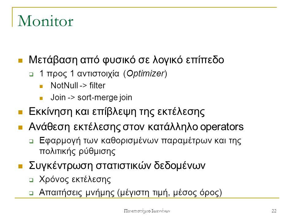 Πανεπιστήμιο Ιωαννίνων 22 Monitor Μετάβαση από φυσικό σε λογικό επίπεδο  1 προς 1 αντιστοιχία (Optimizer) NotNull -> filter Join -> sort-merge join Εκκίνηση και επίβλεψη της εκτέλεσης Ανάθεση εκτέλεσης στον κατάλληλο operators  Εφαρμογή των καθορισμένων παραμέτρων και της πολιτικής ρύθμισης Συγκέντρωση στατιστικών δεδομένων  Χρόνος εκτέλεσης  Απαιτήσεις μνήμης (μέγιστη τιμή, μέσος όρος)