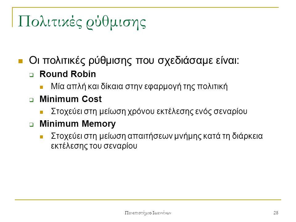 Πανεπιστήμιο Ιωαννίνων 28 Πολιτικές ρύθμισης Οι πολιτικές ρύθμισης που σχεδιάσαμε είναι:  Round Robin Μία απλή και δίκαια στην εφαρμογή της πολιτική  Minimum Cost Στοχεύει στη μείωση χρόνου εκτέλεσης ενός σεναρίου  Minimum Memory Στοχεύει στη μείωση απαιτήσεων μνήμης κατά τη διάρκεια εκτέλεσης του σεναρίου
