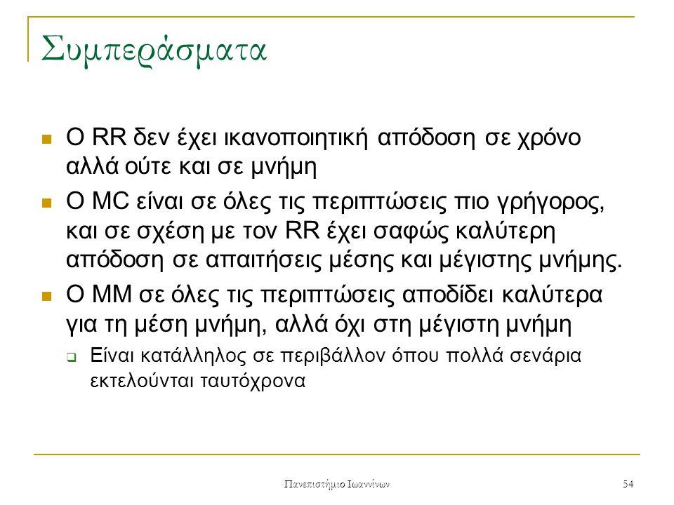 Πανεπιστήμιο Ιωαννίνων 54 Συμπεράσματα Ο RR δεν έχει ικανοποιητική απόδοση σε χρόνο αλλά ούτε και σε μνήμη Ο MC είναι σε όλες τις περιπτώσεις πιο γρήγορος, και σε σχέση με τον RR έχει σαφώς καλύτερη απόδοση σε απαιτήσεις μέσης και μέγιστης μνήμης.