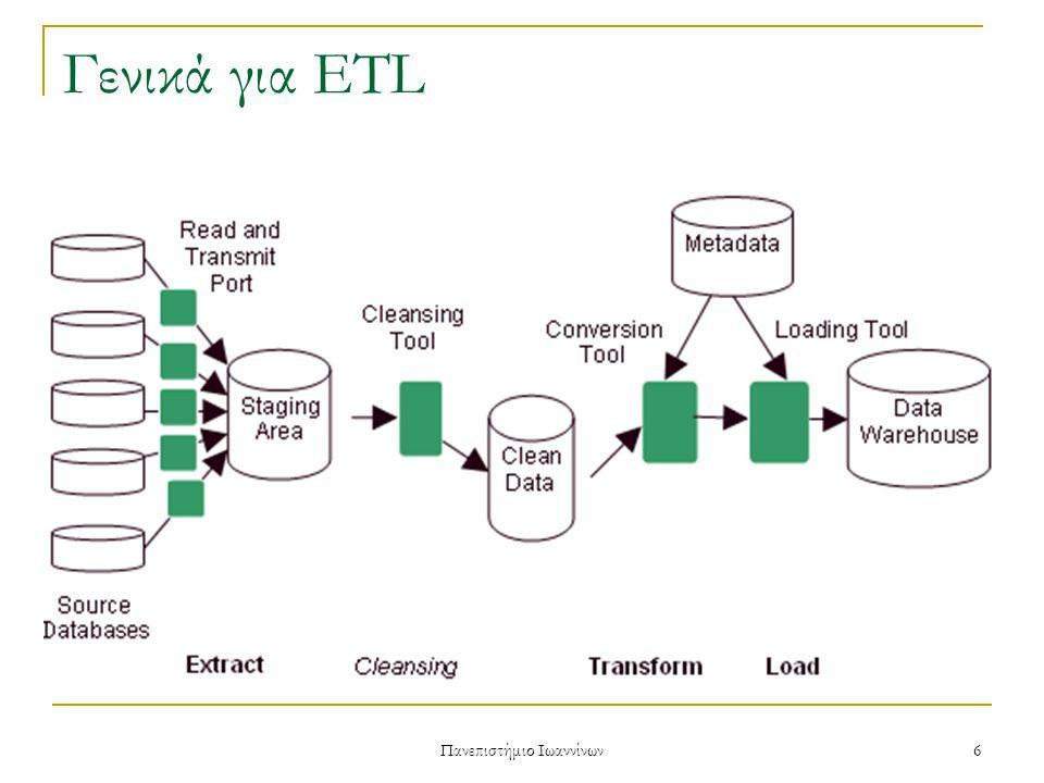 Πανεπιστήμιο Ιωαννίνων 7 Γενικά για ETL Θέματα που αφορούν μια ETL διαδικασία  Επεξεργασία τεράστιων ποσοτήτων δεδομένων  Περάτωση διαδικασίας σε συγκεκριμένα χρονικά περιθώρια  Προβλήματα ποιότητας δεδομένων Απαιτείται ο καθαρισμός τους ($ σε €, format ημερομηνίας κτλ)  Πιθανές αποτυχίες κατά τη διάρκεια επεξεργασίας των δεδομένων ή φόρτωσης των αποτελεσμάτων στην αποθήκη  Η συνεχής εξέλιξη των πηγών και της αποθήκης καθιστά απαραίτητο να εκτελούνται οι απαραίτητες ενημερώσεις στην αποθήκη καθημερινά