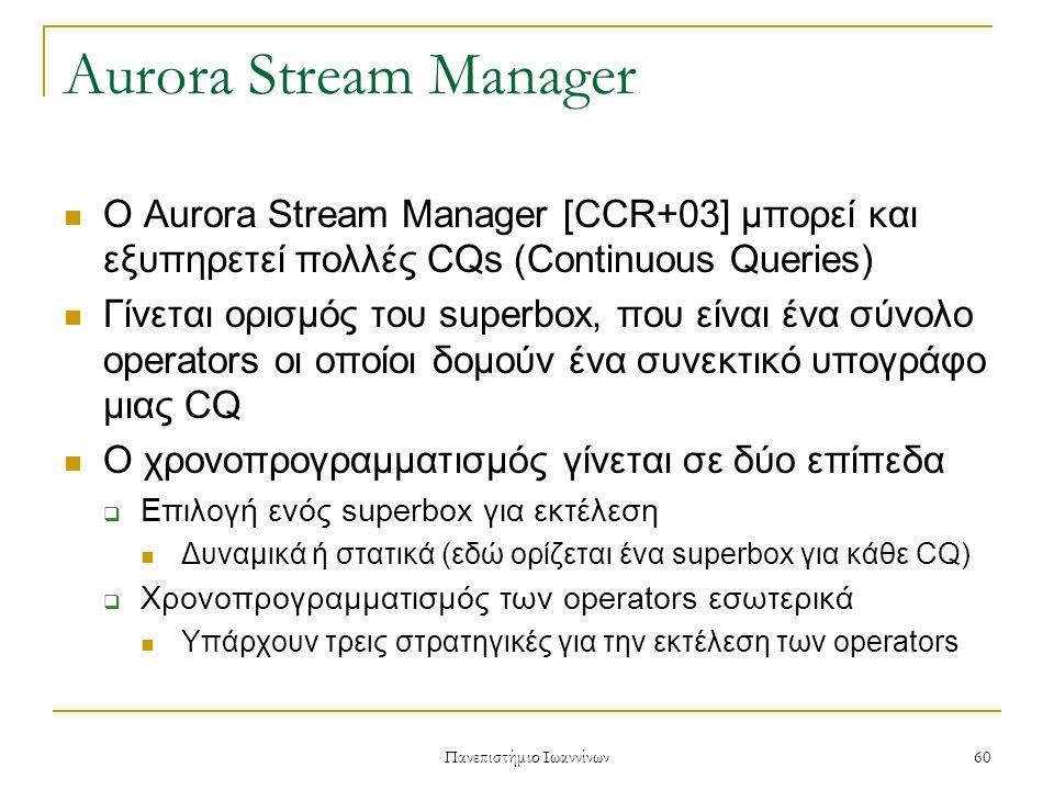Πανεπιστήμιο Ιωαννίνων 60 Aurora Stream Manager Ο Aurora Stream Manager [CCR+03] μπορεί και εξυπηρετεί πολλές CQs (Continuous Queries) Γίνεται ορισμός του superbox, που είναι ένα σύνολο operators οι οποίοι δομούν ένα συνεκτικό υπογράφο μιας CQ Ο χρονοπρογραμματισμός γίνεται σε δύο επίπεδα  Επιλογή ενός superbox για εκτέλεση Δυναμικά ή στατικά (εδώ ορίζεται ένα superbox για κάθε CQ)  Χρονοπρογραμματισμός των operators εσωτερικά Υπάρχουν τρεις στρατηγικές για την εκτέλεση των operators