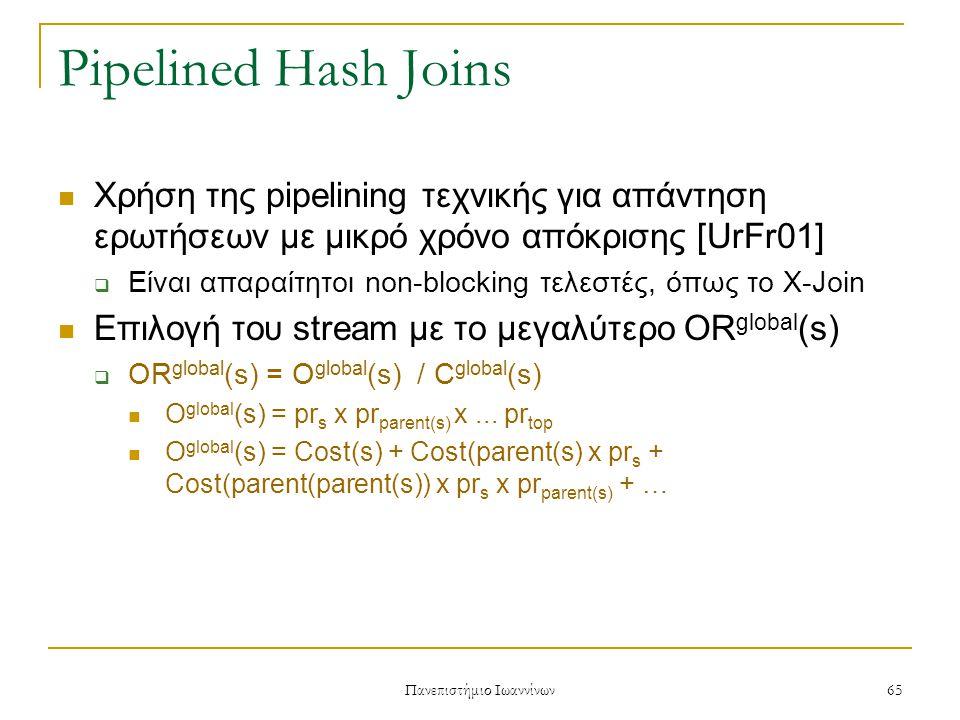 Πανεπιστήμιο Ιωαννίνων 66 Pipelined Hash Joins Ο X-Join τελεστής έχει τρία στάδια Υπολογισμός του pr s στα τρία στάδια του X-Join  Regular St:pr s = σ join x CurCard(sibling(s))  Clean-Up St:pr s = Card left X Card right x σ join - N produced  Reactive St:pr s = N probed X N built x σ partition – N produced σ partition = σ join x N partitions Προτείνουν επίσης και δύο τεχνικές όπου στην τελική έξοδο καταλήγουν πρώτα εγγραφές που θεωρούνται πιο σημαντικές (με βάση ένα ORDER BY)