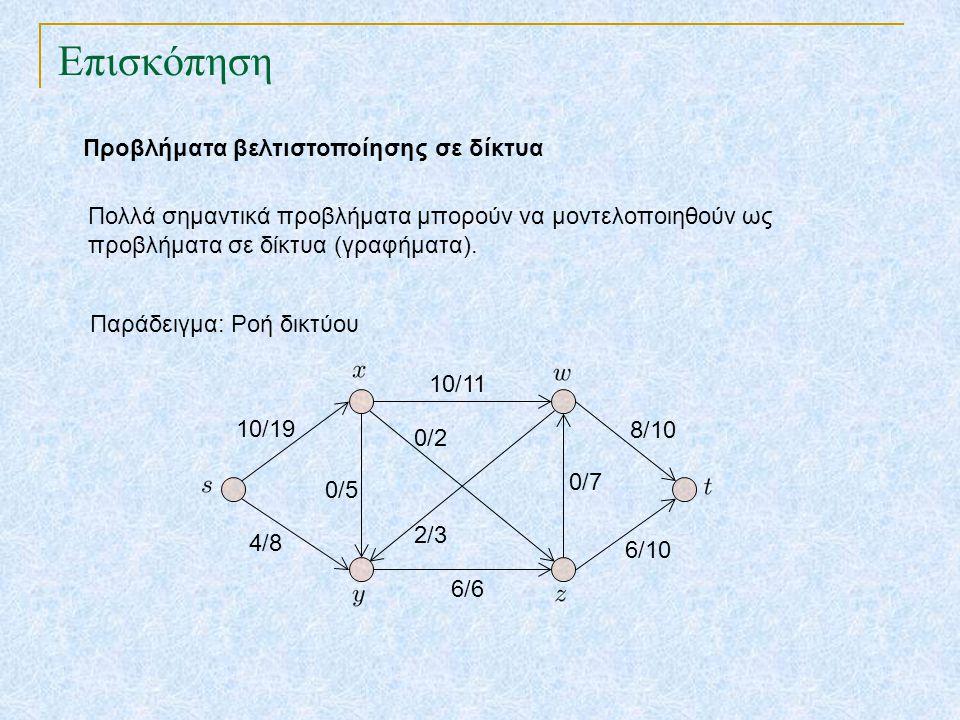 Επισκόπηση Προβλήματα βελτιστοποίησης σε δίκτυα Πολλά σημαντικά προβλήματα μπορούν να μοντελοποιηθούν ως προβλήματα σε δίκτυα (γραφήματα). 10/19 4/8 6