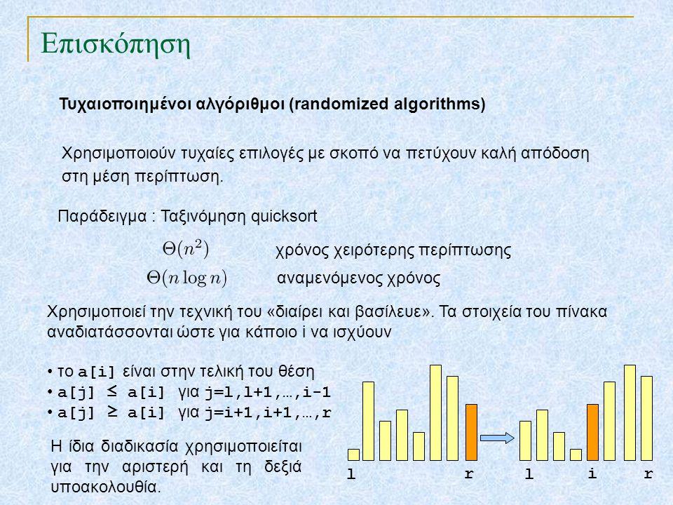 Επισκόπηση Τυχαιοποιημένοι αλγόριθμοι (randomized algorithms) Χρησιμοποιούν τυχαίες επιλογές με σκοπό να πετύχουν καλή απόδοση στη μέση περίπτωση. Παρ