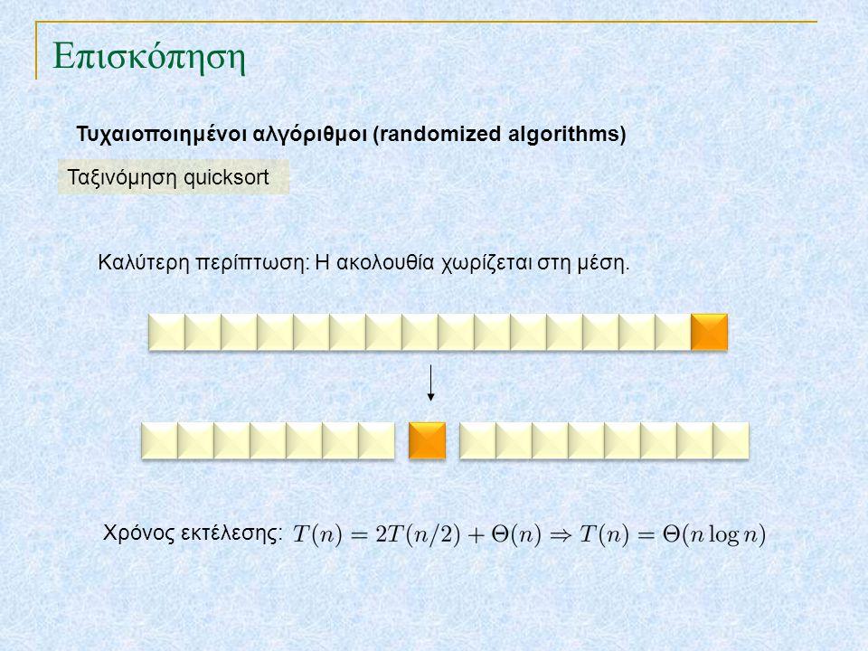 Επισκόπηση Τυχαιοποιημένοι αλγόριθμοι (randomized algorithms) Ταξινόμηση quicksort Καλύτερη περίπτωση: Η ακολουθία χωρίζεται στη μέση. Χρόνος εκτέλεση