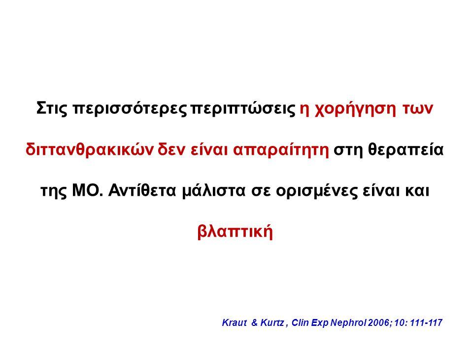 Στις περισσότερες περιπτώσεις η χορήγηση των διττανθρακικών δεν είναι απαραίτητη στη θεραπεία της ΜΟ.