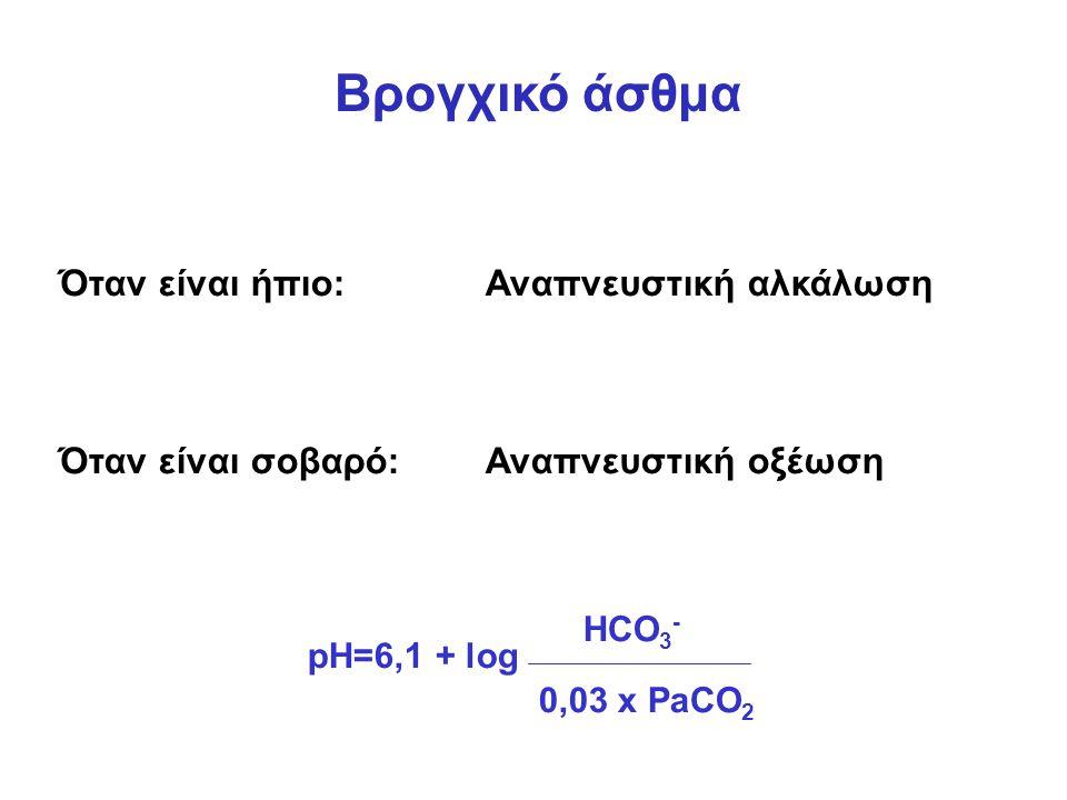Βρογχικό άσθμα Όταν είναι ήπιο:Αναπνευστική αλκάλωση Όταν είναι σοβαρό:Αναπνευστική οξέωση pH=6,1 + log HCO 3 - 0,03 x PaCO 2